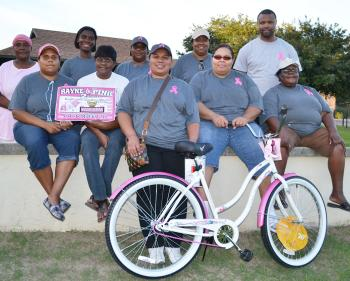 "Sisters of A&O announcing their second annual ""Rayne in Pink"" breast cancer march and fun day and bike raffle on Saturday, Oct. 26, are, front row from left, Kirsten Jolivette, Edra Broussard, Stacey Rubin, Demetrica Simmons and Annie Randall, back row, Rose Mary Mouton, Sadie Wheeler, Cutina Jolivette, Nicole Anderson and A&O member Brian Mouton."