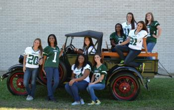 "Chosen as members of Crowley High School's 2013 Homecoming Court were, from left, Skylor Huval, Alanna Plummer, Damonica Jones, 2013 Football Sweetheart Taylor Cormier (seated in truck), Meghan Medus, Takeisha Freddie, Shanna Trahan, Amber Wilson and Courtney Suire. Members of the 2013 court are seated on and in Charles Schmaltz's  ""Green Machine Truck""."