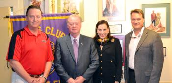Louisiana Secretary of State Tom Schedler addressed the Crowley Lions Club on Tuesday at the Crowley Town Club. From the left are, Crowley Lion Bryan Borill, Schedler, Nancy Broadhurst (La. Old State Capitol Advisory Board) and Acadia Parish Clerk of Court Robby Barousse.