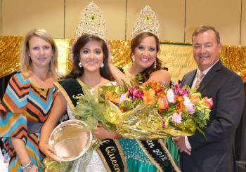 FROG FESTIVAL QUEEN - Ashlee Guilbeau is crowned the 2013-2014 Frog Festival Queen by last year's honoree, Brittney Reed. Making presentations were Rayne Frog Association Pageant Chairman Angie Broussard, left, and Frog Festival Chairman Jimmy Prevost.