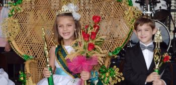 From left, Phoebe Henry of Morse Elementary and Rusty Fulton of St. Michael School were crowned Jr. Queen and King of the 77th International Rice Festival. Phoebe is the daughter of Jamie and Leonard Cormier and Dustin Henry; Rusty is the son of Dwayne and Christine Fulton.