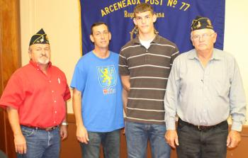 American Legion members of Arceneaux Post 77, Rayne, welcomed Boys State participant Brent Didier, third from left, and his father, Leo, to their October meeting. Also pictured are Commander Gene Comeaux, left, and Boys State Chairman Ray Olinger, right.