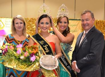 MS. FROG QUEEN NAMED - The new 2012-2013 Ms. Frog Festival Queen, Haley Willis, is crowned by the 2012 Frog Festival Queen, Brittney Reed, during the wekend pageant. Making presentations were Rayne Frog Association Pageant Chairman Angie Broussard, left, and Frog Festival Chairman Jimmy Prevost.