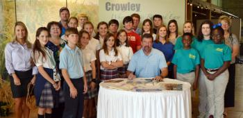 A large group of Crowley 4-H'ers from Notre Dame, Redemptorist Catholic, Ross Elementary and Northside Christian schools and their leaders as well as agents were on hand Friday morning to see Mayor Greg Jones proclaim Oct. 6-12 as National 4-H Week in the city of Crowley.