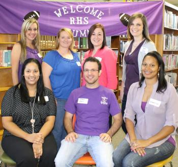 Classmates of the Rayne High School graduating class of 2003 attending the annual alumni reception for Homecoming 2013 were, seated from left, Claire Senegal, Brandon Cahanin and Constance Sias; standing, Angelle Toups, Kaysha Cormier, Christina Whatley Hoffpauir and Meggan Peltier Marcotte.