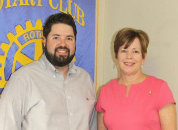 Health insurance options under the Health Insurance  Marketplace, created under the Affordable Care Act, were described to Rotarians by Lyle Leleux, right, a health insurance agent. She was thanked for her presentation by Kyle Broussard, vice president of the Rayne Rotary Club.