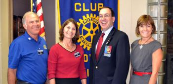Rotary Club of Crowley officers, from left, Scott Schumacher, president; Mary Zaunbrecher, president-elect; and M'elise Trahan, secretary; welcomed District 6200 Governor Tom Acosta Jr. to the club's Tuesday meeting.