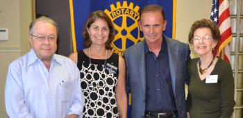 Far left, Dr. Bo McNeely offered the vocational address Tuesday at the Rotary Club of Crowley's meeting. Guest speaker was Lee Mallett, third from left, owner and founder of The Academy of Training Skills. He was welcomed by President-Elect Mary Zaunbrecher, second from left, and program organizer Peggy Sandidge, far right.