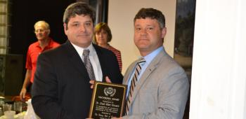 Rotarian Clay Lejeune, left, presented Dr. Chad Vincent the Rotary Club of Crowley's Vocational Award at Tuesday's meeting. Vincent was appreciative to the club as well as the community for its continued support.