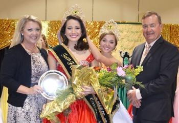 TEEN FROG QUEEN - Caroline Bergeron is crowned the 2013-2014 Teen Frog Festival Queen by last year's honoree, Victoria Richard. Making presentations were Rayne Frog Association Pageant Co-Chairman Nikki Link, left, and Frog Festival Chairman Jimmy Prevost.
